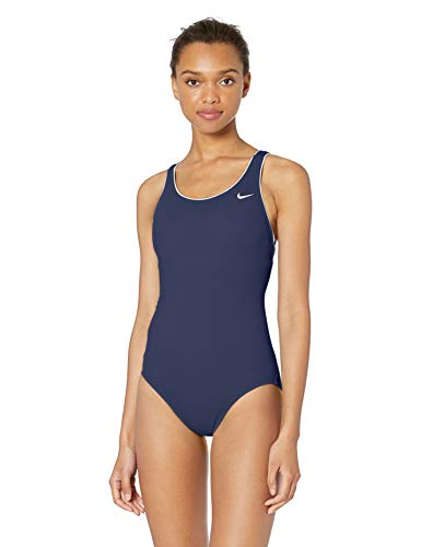 Nike Swim Women's Solid Powerback One Piece Swimsuit, Midnight Navy, Large