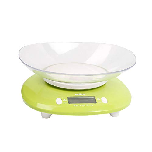 QAQ Balanza De Cocina De Alta Precisión Electrónica con Tazón ABS Ecológico 5kg/1g Repostería Materiales Medicinales Joyería,Green,OneSize(5kg/1g)