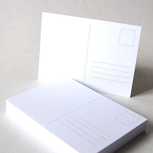 50 hochweiße Blanko-Postkarten DIN A6 mit Postkartenvordruck (Briefmarke und Adressfeld) auf stabilem Karton: SoporSet 300 g/qm