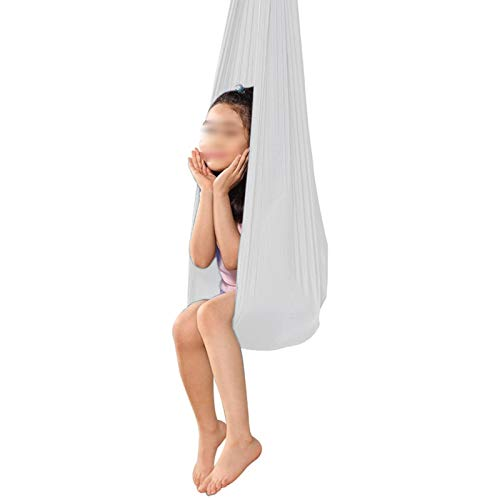 YXYH Indoor Therapy Swing Swing Cuddle Hammock Exercises Improve Flexibility Core Strength Extension Straps for Children with Autism ADHD Aspergers (Color : White, Size : 100x280cm)