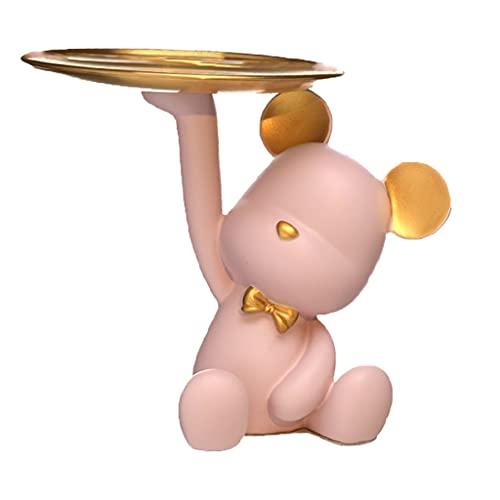 Bandeja De BañoResina,Bandeja De Almacenamiento De Oro, Caja De Almacenamiento De Bandeja De Oso, Pequeñas Decoraciones De Almacenamiento De Llaves,Decoraciones para El Hogar(Color:Rosado)