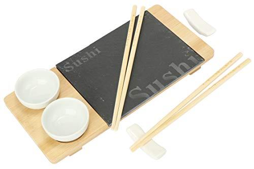 com-four Juego de 7 Piezas de Sushi - Plato para Servir de Pizarra y Madera de bambú - con Cuencos para Salsa de Soja y Palillos (7 Partes - V1)