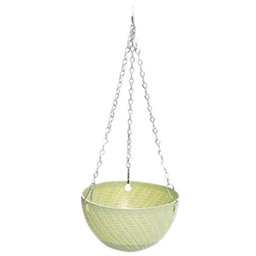 Gesh Cesta redonda de plástico para colgar flores, maceta de 16 x 10 cm, maceta de jardín, decoración de macetas colgantes (verde)