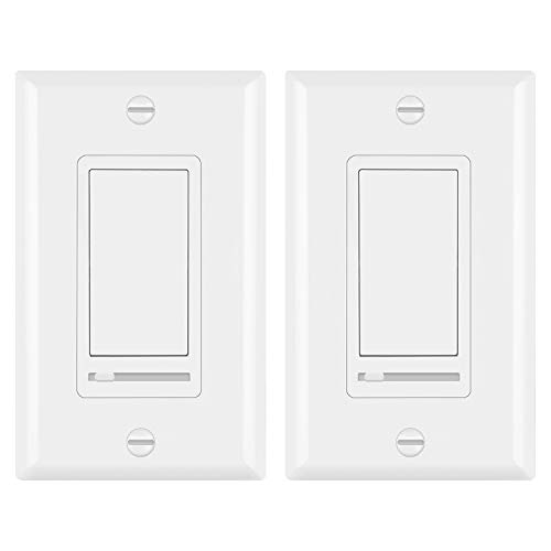 [2 Pack] BESTTEN Decorative Rocker Light Dimmer Switch with Horizontal Slider & Side Adjuster for Incandescent or Halogen Bulbs, CFL and LED Dimmable Lamps, Decor Wall Plate Included, UL Listed, White
