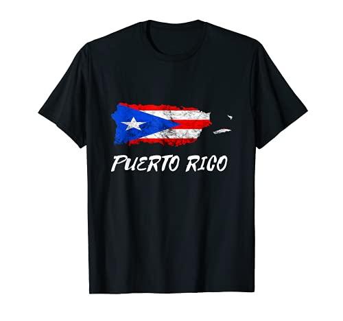 Puerto Rico Map Puertorro Boricua Roots Puerto Rican Flag T-Shirt