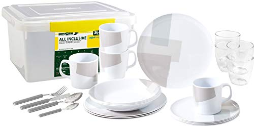 Brunner - Vajilla de melamina para camping (36 piezas)