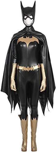 XDHN Dames Batman Batgirl kostuum volwassenen body onesies, jas, schoenen, handschoenen, masker Halloween Movie Game Cosplay kostuum kostuum feest rekwisieten, zwart-M