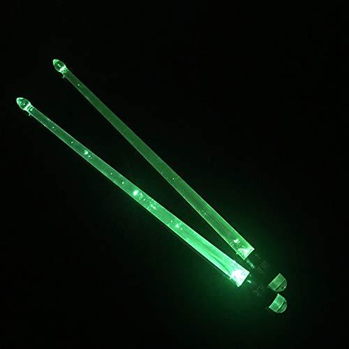 ABCCS Baquetas,1 par de Baquetas Luminosas Baquetas de batería 5A Baquetas y Tambores de Jazz Fluorescentes Baquetas de batería para actuaciones en Escenario,Baquetas con luz Brillante,(Verde)