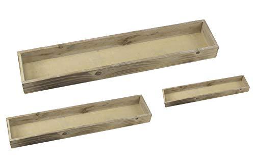 DARO DEKO Holz Tablett Natur länglich 3 Stück - S, M und L
