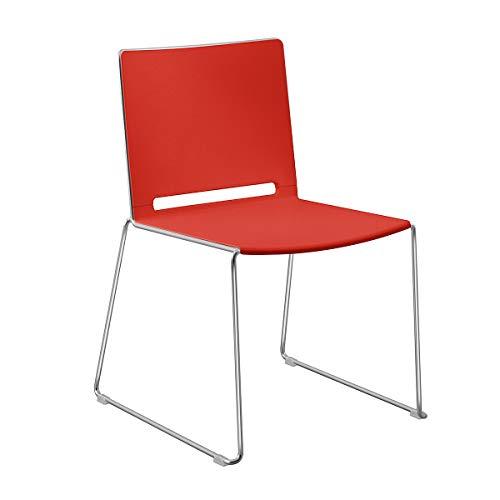 FRIWA Stuhl mit Kufen - ohne Armlehne - Stuhl mit Kufen - rot - Design Stuhl Designer Designstuhl minimalistisch Kufenstuhl Bistrostuhl Designstühle Küchenstuhl Esszimmerstuhl Esstischstuhl