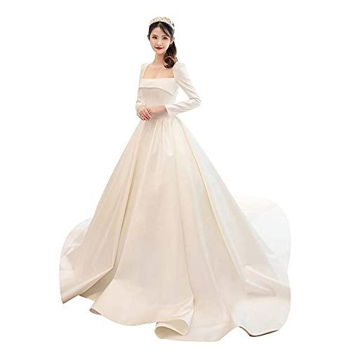 bdb Vestidos de boda de satén vintage para mujer, cuello cuadrado, manga larga, falda de novia para fiesta de novia, otoño (color blanco, tamaño: XXXL)
