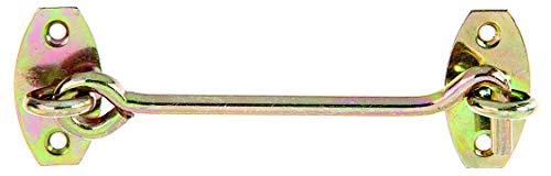 GAH-Alberts 903855 Sturmhaken | mit Winkelplatten oder Ösen auf Platten | galvanisch gelb verzinkt | Länge 120 mm | Haken-Ø 5,8 mm