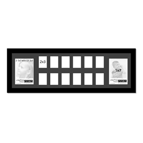 """Creative Picture Frames k-12 School Year Photo Collage with 14 Openings 12-2"""" x 3"""" Wallet Size and 2-5"""" x 7"""" Photos, Preschool Through HS Graduation (Black Mat)"""