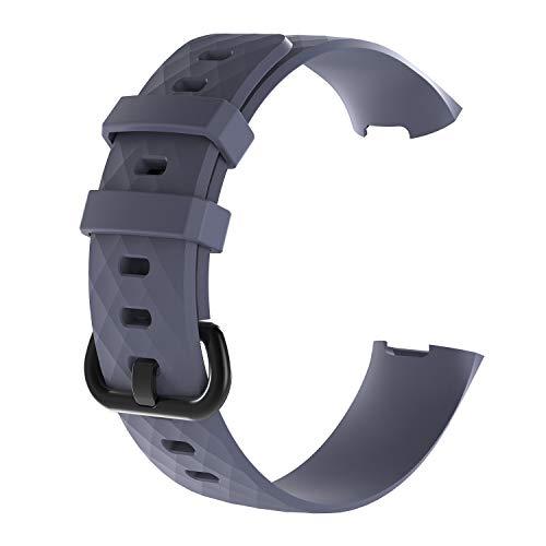 AISPORTS 5 unidades compatibles con Fitbit Charge 4 correa de silicona para mujeres y hombres, suave y flexible transpirable correa de repuesto para Fitbit Charge 4/Charge 3 Fitness Tracker