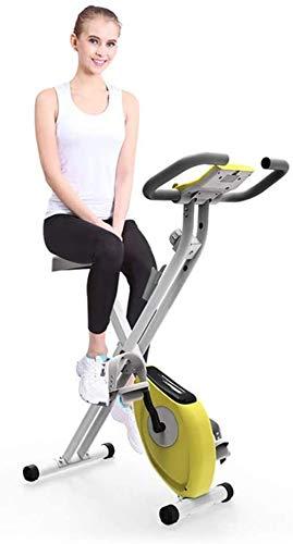 Bicicleta estática de resistencia magnética, bicicleta estática plegable para interiores, con pantalla LCD ajustable y soporte para tableta