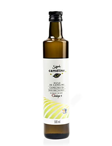 Award Winning Gourmet Camelina Oil 500 ml, Plant Based Oil, Cold Pressed, High Smoke Point Frying Oil, Perfect For High Temperature Cooking, Grilling, Frying. Olive Oil Substitute