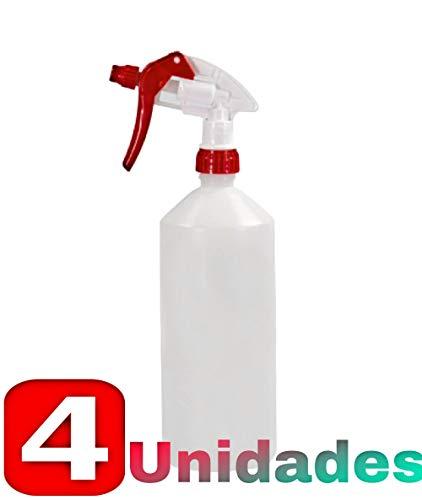 PULVERIZADOR-4 Spray Rojo + Botella DE 1L - Muy Resistentes Y DURADEROS - INDICADO para Productos DE DESINFECCIÓN, HIGIENE Y Limpieza - ÚTIL para Gel HIDROALCOHOLICO