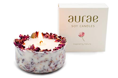 Aromatherapy soy wax candle decorated with rose petals 250 g. Natural Floral...