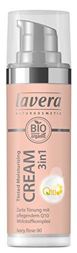lavera Tinted Moisturising Cream 3in1 Q10 -Ivory Rose- Getönte Feuchtigkeitscreme ∙ Hautpflege und Farbe ∙ Vegan Naturkosmetik Natural Make-up Bio Pflanzenwirkstoffe 100% natürlich (1x 30ml)