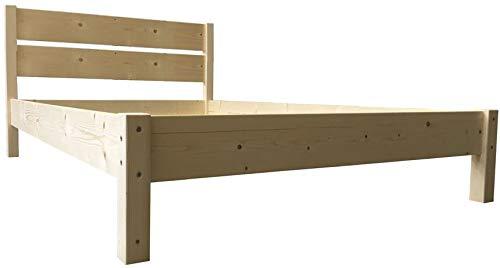 LIEGEWERK Massivholzbett Bett mit hohem Kopfteil Holzbett Holz 90 100 120 140 160 180 200 x 200cm hergestellt in BRD (120cm x 200cm)
