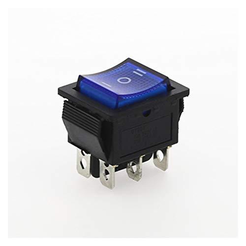 Interruptores de Palanca 4pcs KCD4 Rocker Interruptor conmutador de alimentación 3 posición del Equipo 6 Patillas eléctricas con el Interruptor de luz 16A 250VAC / 20A 125VAC (Color : Blue)