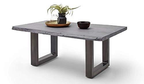 Möbel-Store24 Couchtisch Wohnzimmertisch Baumkante Akazie-massiv U-Form rechteckig grau lackiert 110 cm Cartagen M58010UGG