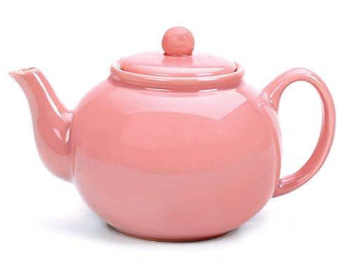 RSVP Large Stoneware 6-Cup Teapot, Pink