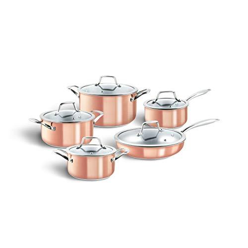 Lot de Casseroles en Cuivre et Acier Inoxydable avec couvercles en verre, marmites moderne, conviennent à tous les types de cuisinières, y compris à l'induction
