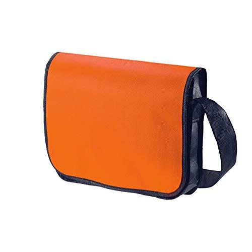 PureDay Non Woven College Tasche Querformat - Stiftschlaufen, Klettverschluss - Non Woven - Orange
