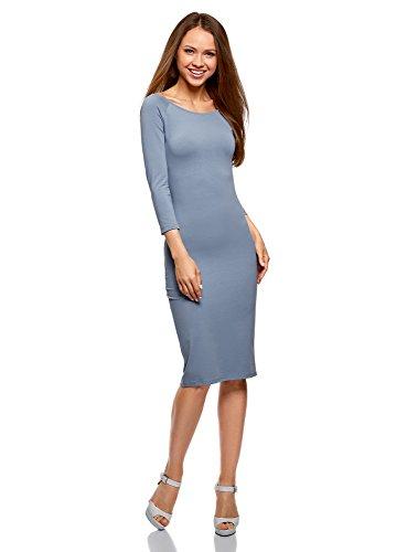 oodji Ultra Damen Enges Kleid mit U-Boot-Ausschnitt, Blau, DE 34 / EU 36 / XS