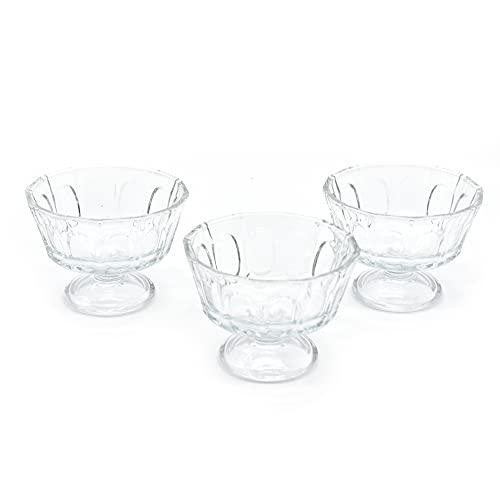 takestop® Copas de helado de cristal transparente, juego de 3 piezas, diseño elegante, 10,8 x 10,8 x 8 cm