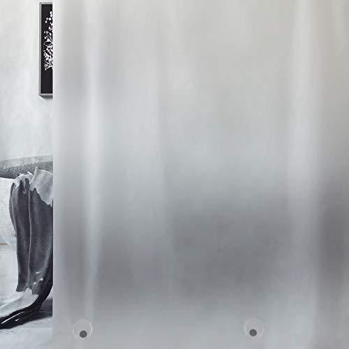 WELTRXE Duschvorhang mit Gewicht Magnet unten, Semitransparent Mattglasartig Eva Wasserdicht Vorhang für Dusche & Badewanne, 0.15mm[183x183cm] Weiche Badevorhänge mit 12 Duschvorhangringen Kinder