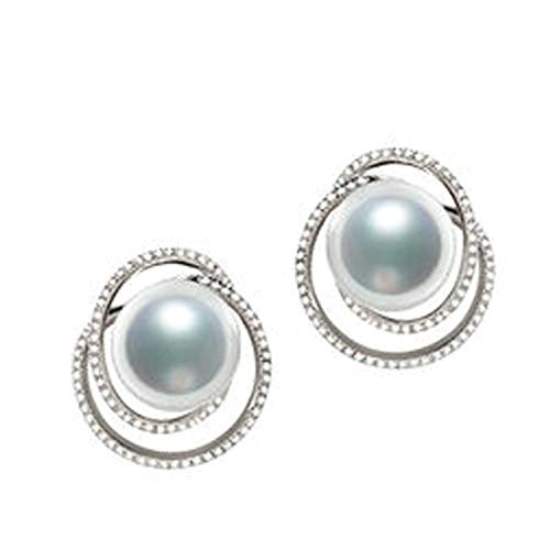 KnSam 18K Oro Blanco Pendiente, Arete Redondo Forma con Perla Diamante Blanco, Perla Blanco, Color Oro Blanco