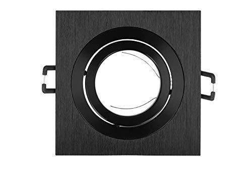 Preisvergleich Produktbild Einbaustrahler GU10 Einbaurahmen 35° Schwenkbar Ø85mm Bohrloch Aluminium inkl. GU10 Fassung für LED Leuchtmittel Schwarz Eckig