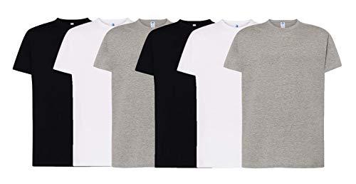 JHK - Pack de 6 Camisetas básicas de Manga Corta,100% Algodón. Doble Costura y Refuerzos - Camiseta Interior así como Deportiva. Disponible en Tallas Extra Grandes (Pack Blanca - Negra - Gris, S)