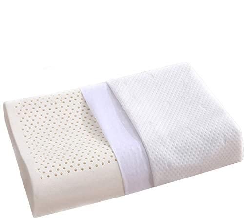 Almohada de látex para el Dolor de Cuello, Almohadas de Contorno para Dormir, Almohada ortopédica ergonómica con Funda de Almohada Lavable de Lujo