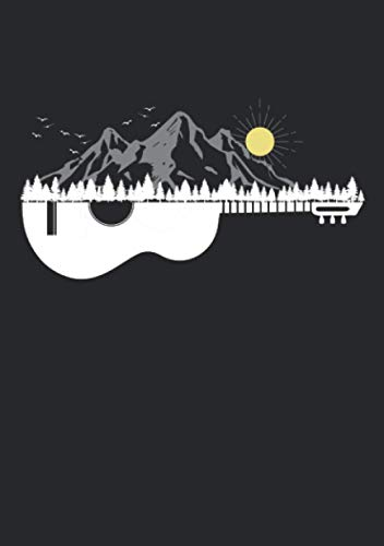 Notizbuch A5 liniert mit Softcover Design: Gitarre Berge Musiker Bergsport Wander Ski Snowboard Motiv: 120 linierte DIN A5 Seiten