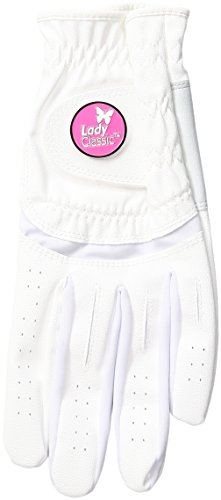 Lady Classic Women s Soft Flex Gloves with Magnetic Ball Marker, Left Hand, White, Large