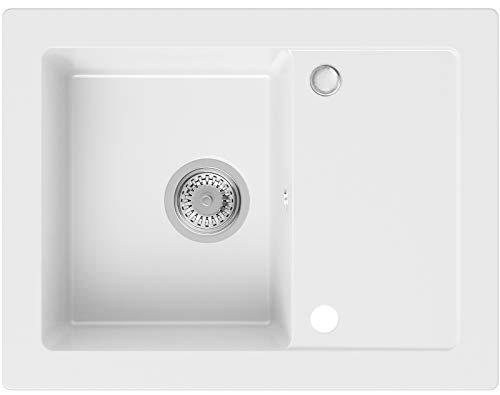 Spülbecken Weiß 64 x 49 cm, Granitspüle + Siphon Klassisch, Küchenspüle ab 45er Unterschrank in 5 Farben mit Siphon und Antibakterielle Varianten, Einbauspüle von Primagran