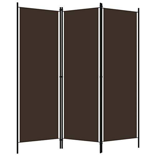 WooDlan Biombo Separador de 3 Paneles, Decoración Elegante, Separador de Ambientes Plegable, Divisor de Habitaciones, 150x180 cm (marrón)