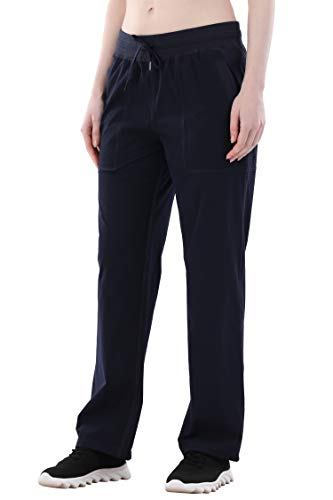 ANBENEED Women's Woven Open Bottom Track Pants Light Weigh Water Resistant Drawstring Sweatpants for Hiking Running (Bnavy Blue, XS)
