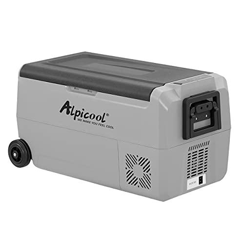 Alpicool T36 - Frigorífico portátil de 36 litros, 12 V, 24 V, nevera eléctrica para coche, camping, camión, barco y enchufe con puerto USB