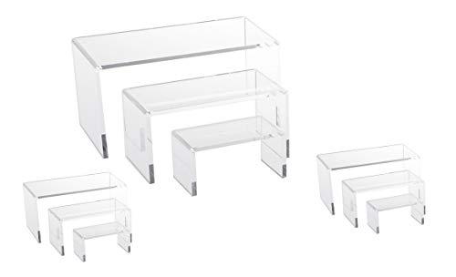 NicePackaging 9 Piece Set - Clear Acrylic Display Risers, Acrylic Clear Riser Set