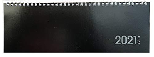 Tischquerkalender 1 Woche auf 1 Seite Kartondeckel Schreibtischkalender Tischkalender Marke ADINA 30x10cm (2021, schwarz)