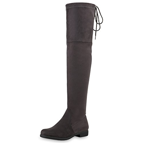 SCARPE VITA Damen Overknees Leder-Optik High Stiefel Boots Basic Look 164147 Grau 36