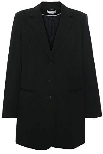 Sheego Blazer Longblazer Gehrock Jacke Damen Viskose Plusgröße Oversize, Farbe:schwarz, Damengrößen:52