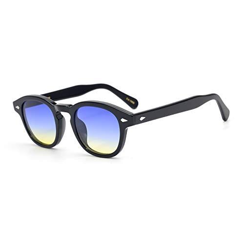 Pirata capitano Johnny Depp stile plastica ovale occhiali da sole moda uomini e donne occhiali da sole di guida dell'annata può fare prescrizione o Gradation occhiali da sole lente (blu -giallo)