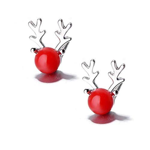 MJY Exquisito 1 par de lindas mujeres Pendientes de animales navideños Chica de cobre Pendientes de astas de ciervo de perla Pendientes de oreja navideños con vida cotidiana,rojo,4 mm (perla),