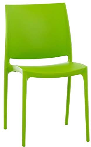 CLP XXL-Küchenstuhl Maya I Wetterbeständiger Stapelstuhl bis zu 160 kg belastbar I erhältlich, Farbe:grün