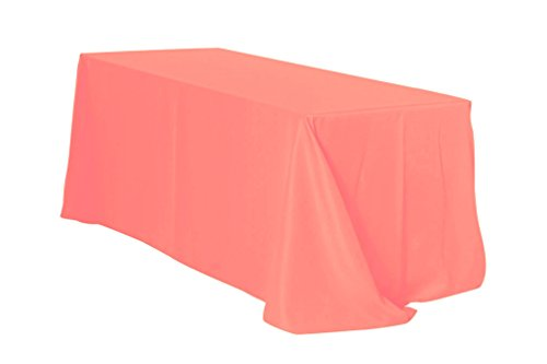 "Your Chair Covers Rectangular Polyester Tablecloths, 90"" W x 132"" L, Coral"
